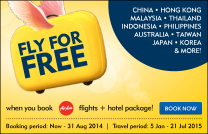 FLY for FREE when you book AirAsia flights + hotel package! 4D3N Flights & Hotels from RM117