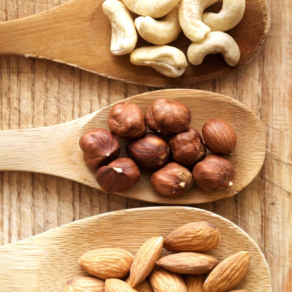Hazelnuts on a spoon