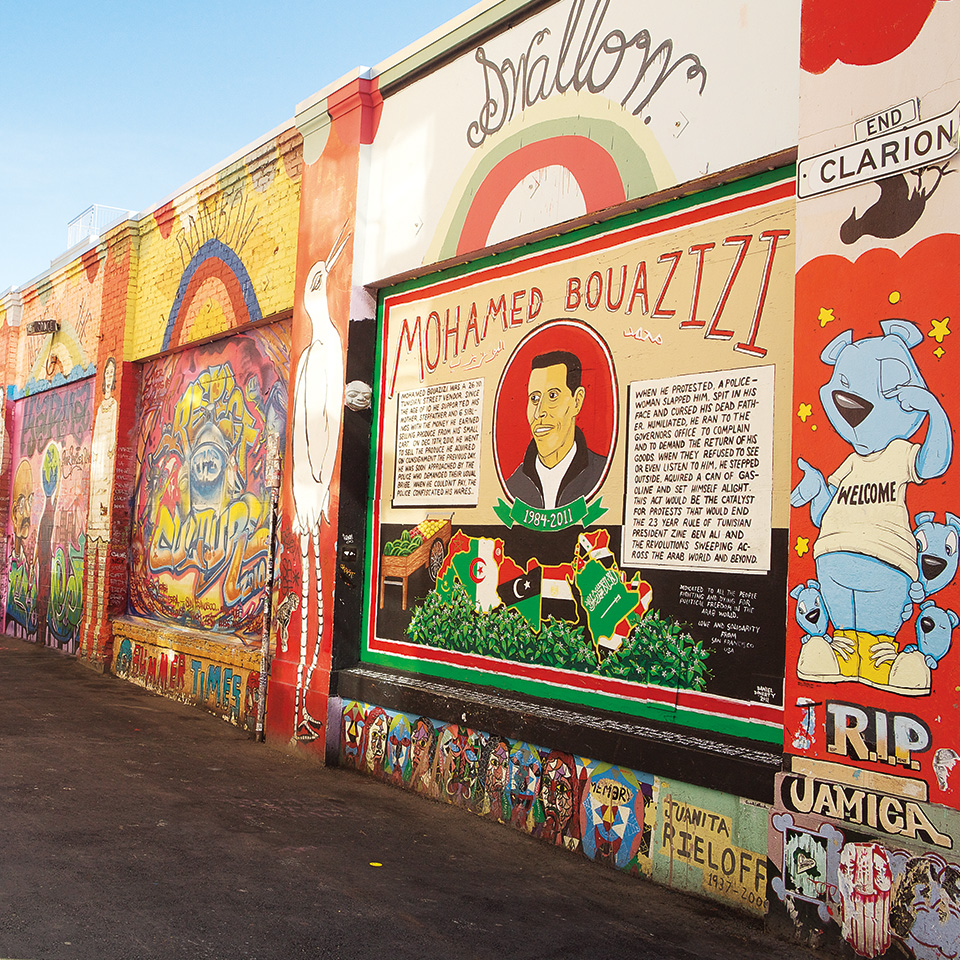 Clarion Alley, in the heart of the Mission District, is noted for its community activities and the mural project that started in 1982.