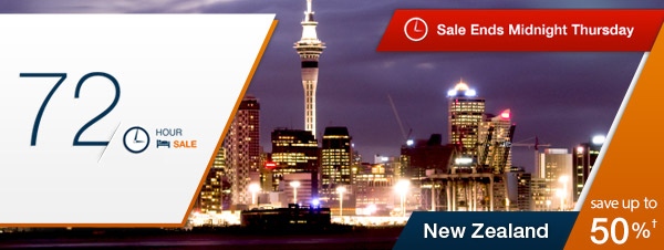 Save up to 50% on New Zealand Hotels for 72 Hours Only @ Expedia.com.au
