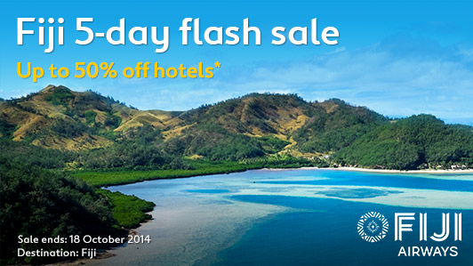 Fiji 5-day flash sale up to 50% off hotels and Fiji airways special airfares at Expedia.com.au