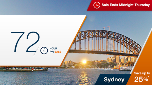 Save up to 25% off on hotels  Sydney 72 hours sale at Expedia.com.au