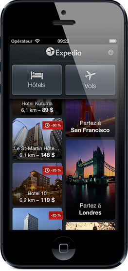 Expedia app de l'iPhone
