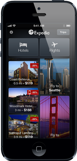 Expedia app has hotels and flights
