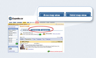 At the top of the hotel results page, click on the Area map view or Hotel map view tabs to get started.