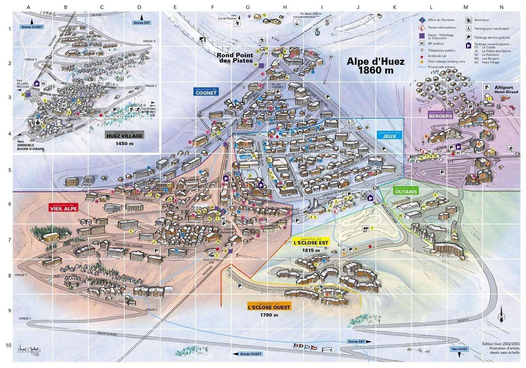 Alpe d huez carte voyages cartes - Office du tourisme de l alpes d huez ...