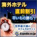人気都市のホテルが最大70%OFF★エクスペディアの直前割引