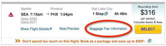 baggage fee screenshot