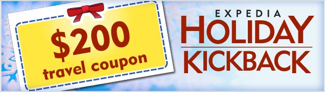Expedia Holiday Kickback - $200 travel coupon