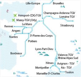 Carte du réseau TGV AIR