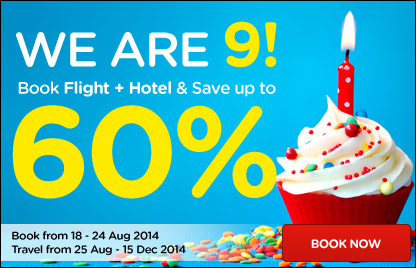 We are 9! Up to 60% off when book Flights & Hotel together!
