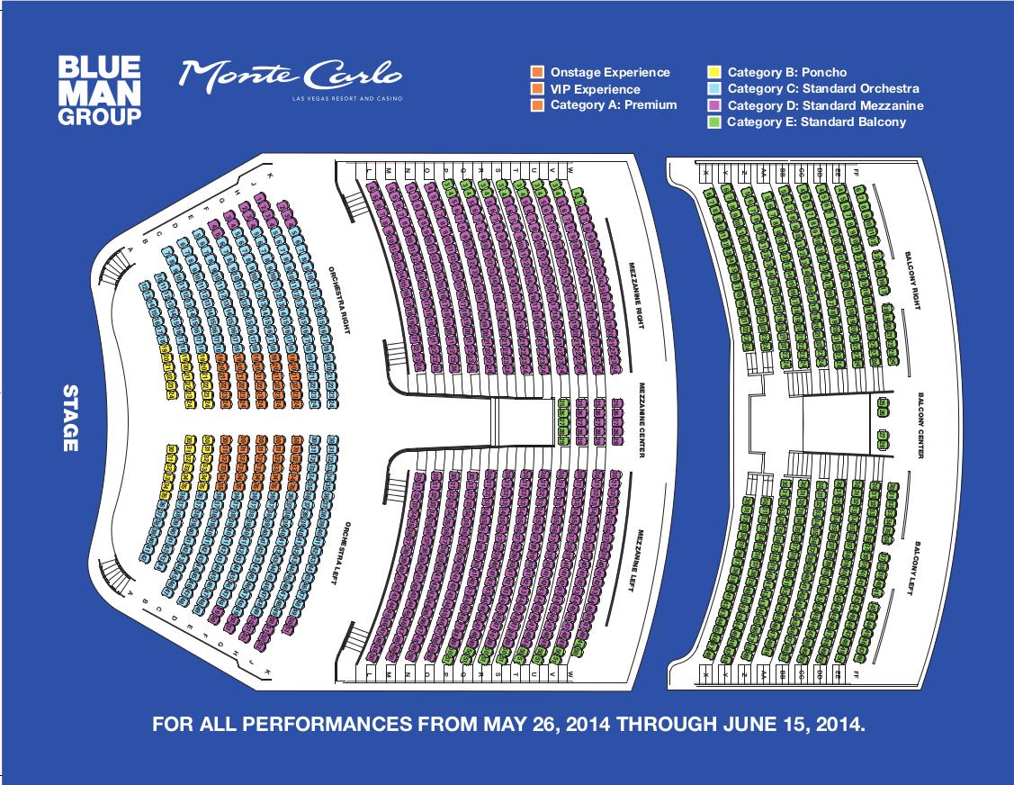 Blue Man Group Seating 62